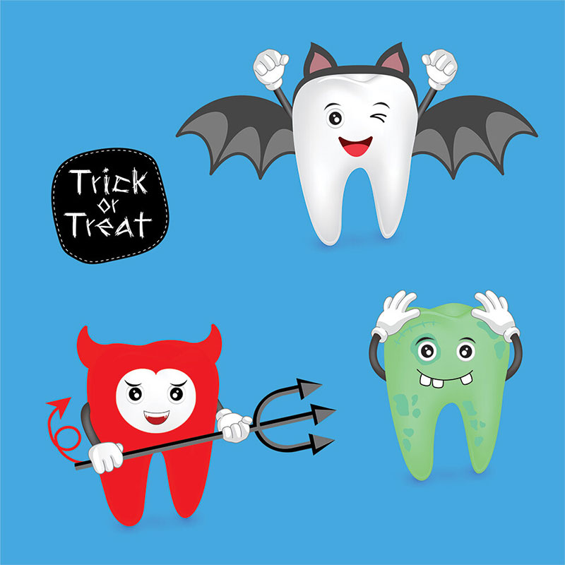 illustration of teeth dressed in halloween costumes